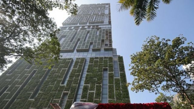 """Antilia, the house of the Chairman of Reliance Industries Mukesh Ambani, is seen ahead of Mukesh""""s daughter wedding, in Mumbai, India December 7, 2018."""