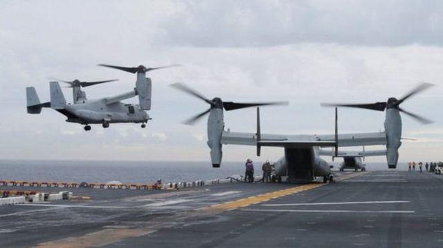 (แฟ้มภาพ) เครื่องบินเอ็มวี-22 ออสเปรย์ ที่นอกชายฝั่งนครซิดนีย์ เมื่อเดือนมิ.ย.ที่ผ่านมา