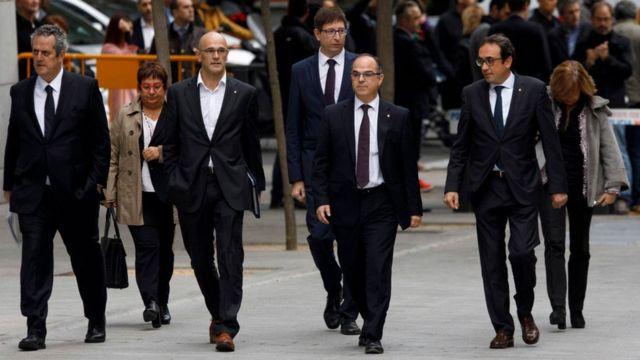 Los exconsejeros catalanes detenidos en Madrid.