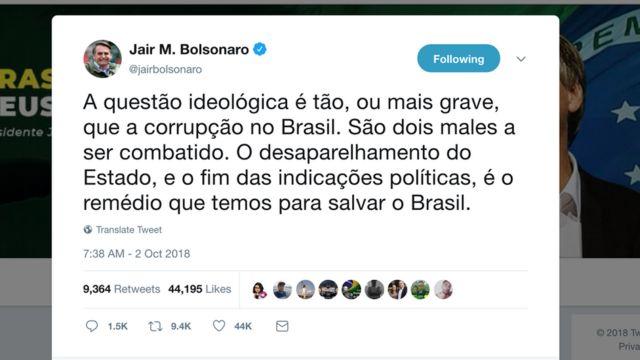 Tuíte de Bolsonaro