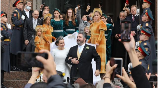 Венчание потомка династии Романовых Георгия Михайловича с Ребеккой Беттарини в Санкт-Петербурге