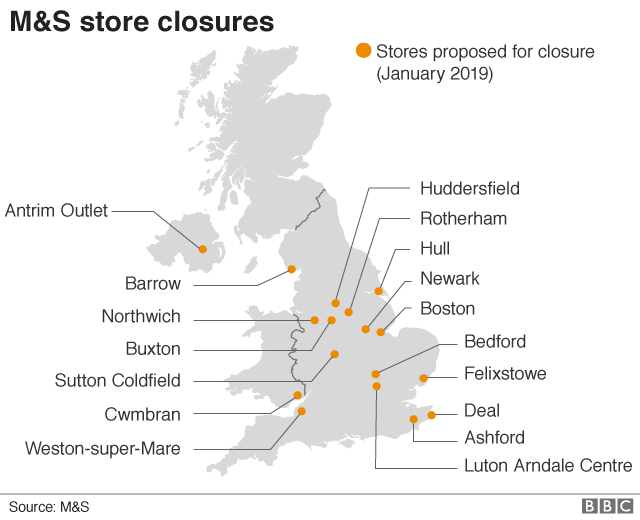 Map of locations for proposed Marks & Spencer store closures
