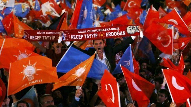 Supporters wave Turkish national and party flags outside the AK Party headquarters in Ankara, Turkey, in June 2015