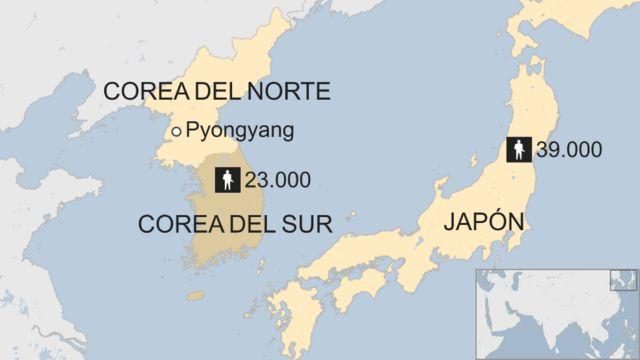 El mapa muestra que EE.UU. tiene 23.000 militares en Corea del Sur y 39.000 en Japón.