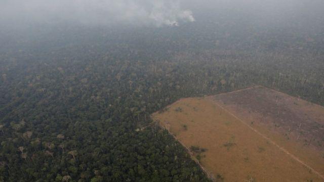 Fumaça se espalha em área de floresta perto de Porto Velho (RO), no meio da qual há um clarão desmatado