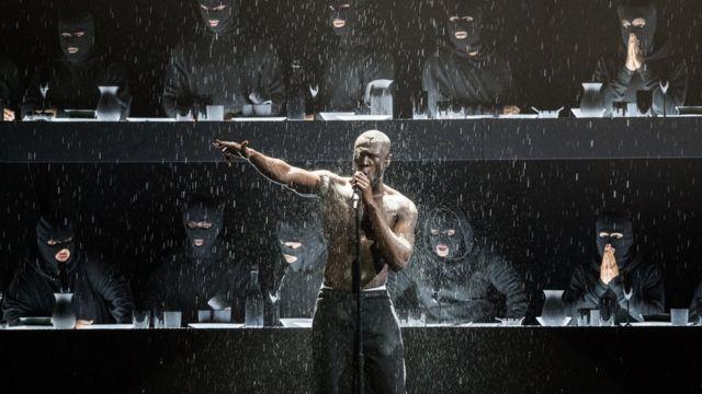 Stormzy performing at the Brits, 2018