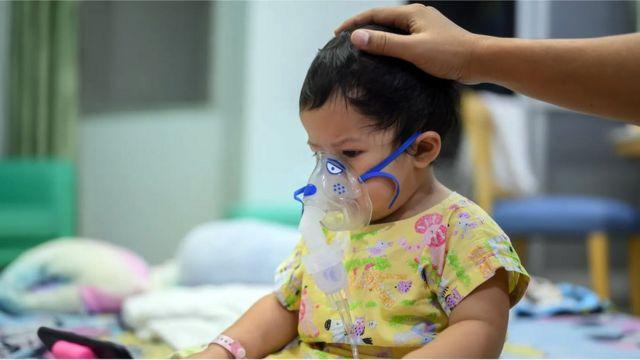 Criança com máscara de oxigênio