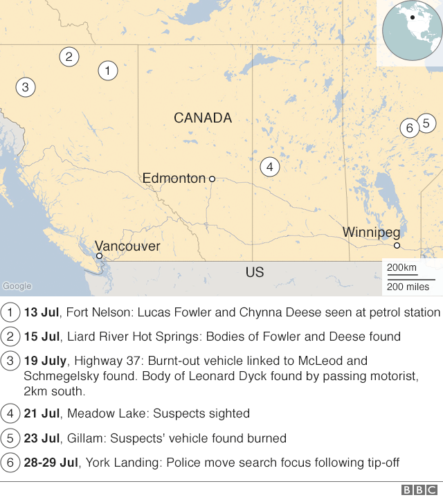 A timeline map of the Canada-wide manhunt.