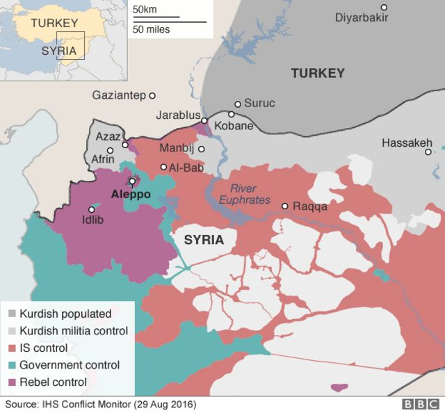 Map showing control of northern Syria - 31 August 2016