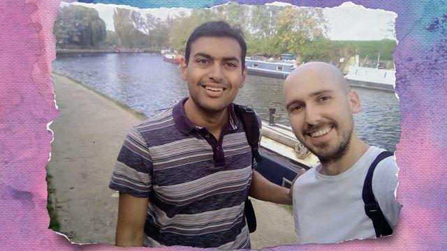 Jaabir Ramlugon com seu namorado, Dale
