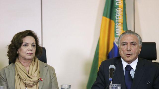 A secretária Nacional de Políticas para as Mulheres, Fátima Pelaes, e o presidente interino Michel Temer, participam de reunião com os secretários de Segurança Pública de todos os Estados, no Ministério da Justiça.