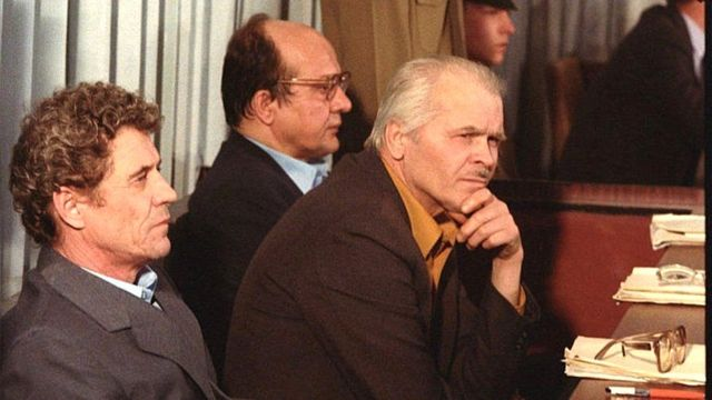 Director of Chernobyl Nuclear Power Plant Viktor Bryukhanov (left), deputy chief engineer Anatoly Dyatlov (centre) and chief engineer Nikolai Fomin at the trial