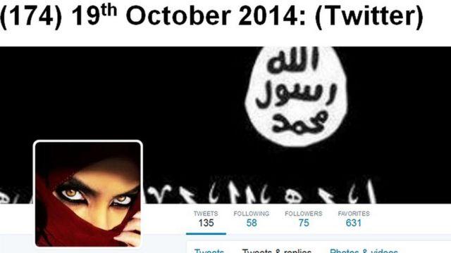 صورة لحساب على موقع تويتر متهم بالدعوة للانضمام للتنظيم