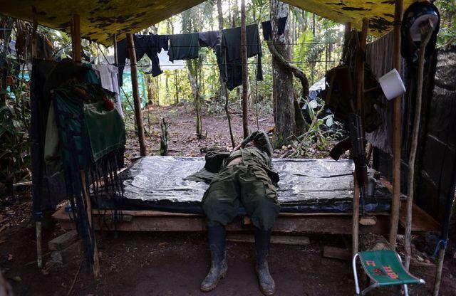 Campamento de las FARC en El Diamante, en el departamento de Caquetá, en el sur de Colombia.