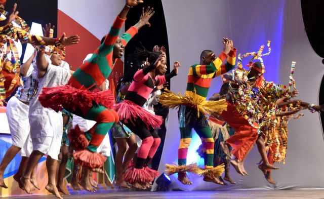 Dancers perform during the First Ladies of West Africa Conference on child labour, in Abidjan on October 17, 2017.