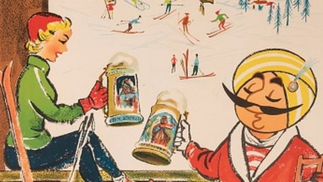 """Geneva"""" poster depicting the company mascot – the Maharaja – relaxing at a ski resort and toasting a large beer with his ski partner while balancing on a broken leg and crutches, designed for Air India, 1965."""
