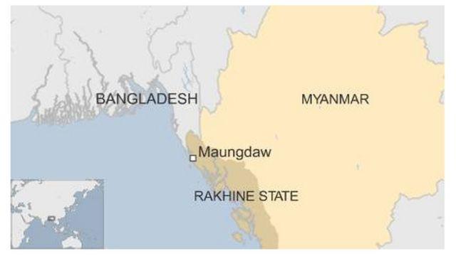 ラカイン州(Rakhine )のマウンドー地区(Maungdaw)の位置
