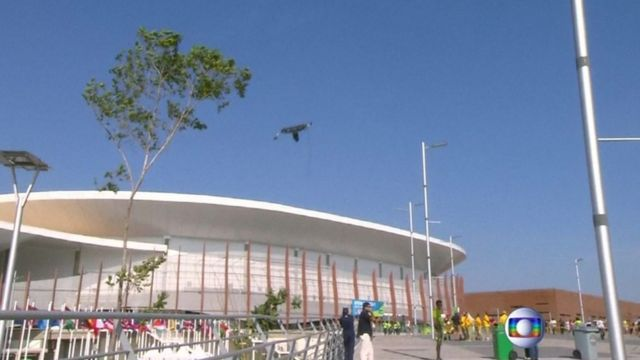 Television camera falls to the ground at the Olympic Park in Rio