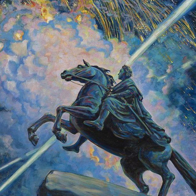 """Картина """"Фейерверк. Медный всадник"""" Бориса Кустодиева"""