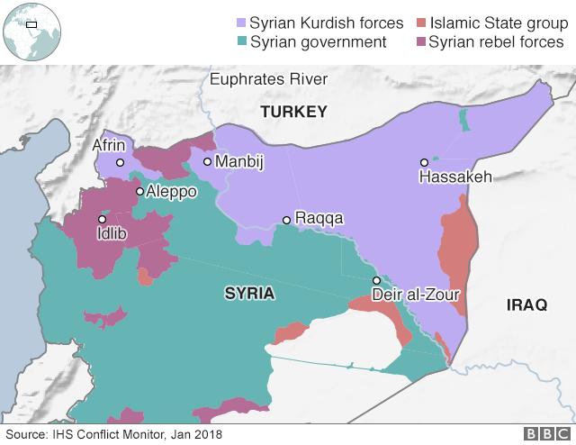 各勢力の支配地域。濃い紫色はシリア反対勢力、薄い紫色はクルド人勢力、緑はシリア政府、オレンジ色は「イスラム国」(今月8日時点/IHS調べ)