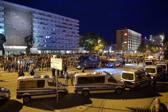 Полиция в центре Хемница