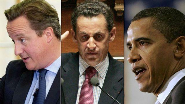 David Cameron, Nicolas Sarkozy et Barack Obama