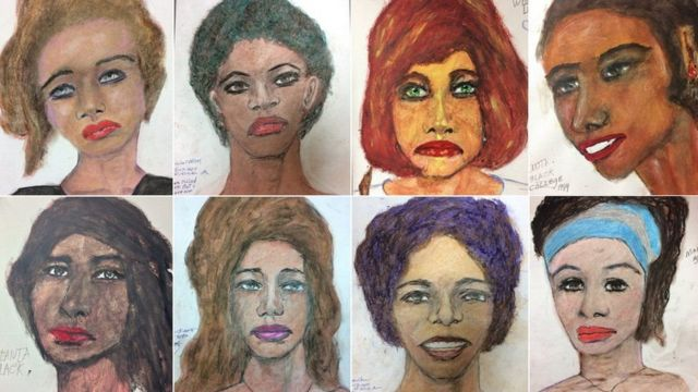 صور للضحايا رسمها صمويل ليتل أثناء إقامته في السجن