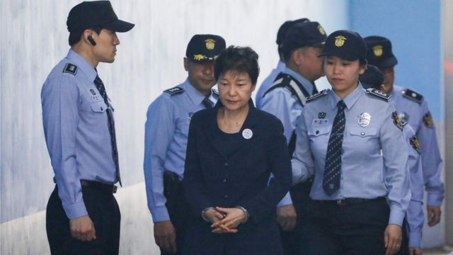 In this file photo taken on 23 May 2017 South Korean ousted leader Park Geun-hye arrives at a court in Seoul.