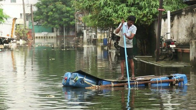 Man on raft in Chennai