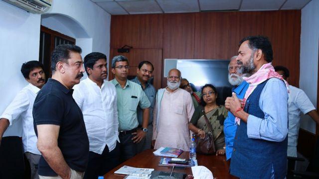 நடிகர் கமல் மற்றும் யோகேந்திர யாதவ் சந்திப்பு