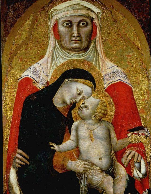 Madona con su hijo y Santa Clara, 1340-45. Alojado en Princeton University Art Museum