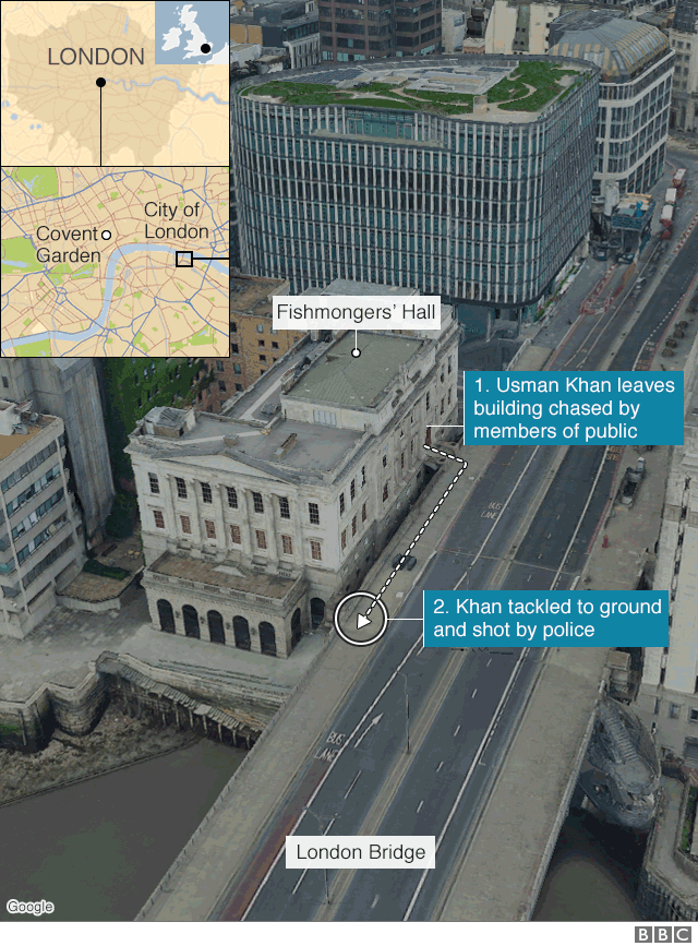 Map showing location of incident at London Bridge