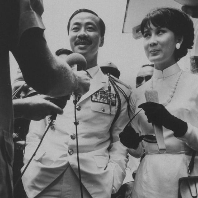 South Vietnamese Premier Nguyen Cao Ky and wife in Tay Minh during national elections