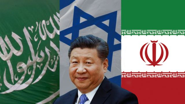 Chinese President Xi Jinping with the Saudi, Israeli and Iranian flags
