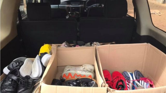 Boxes of shoes in lorry