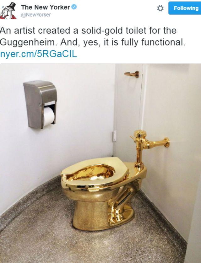 ニューヨーカー誌はツイッターで「アーティストが純金のトイレをグッゲンハイムのために制作。ええ、もちろん使えますよ」とツイートした