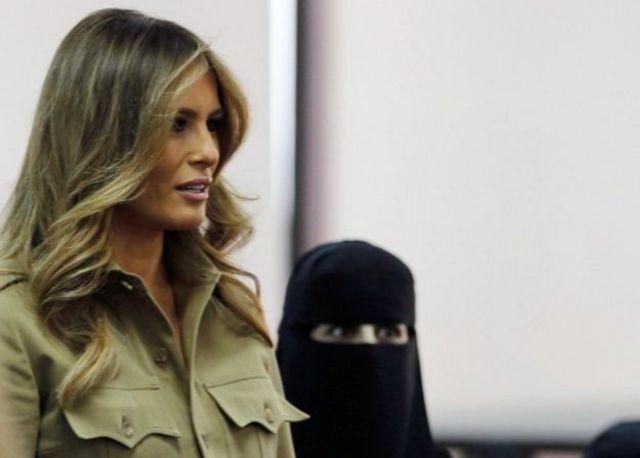 ملانیا ترامپ بدون بر سر داشتن روسری در عربستان سعودی