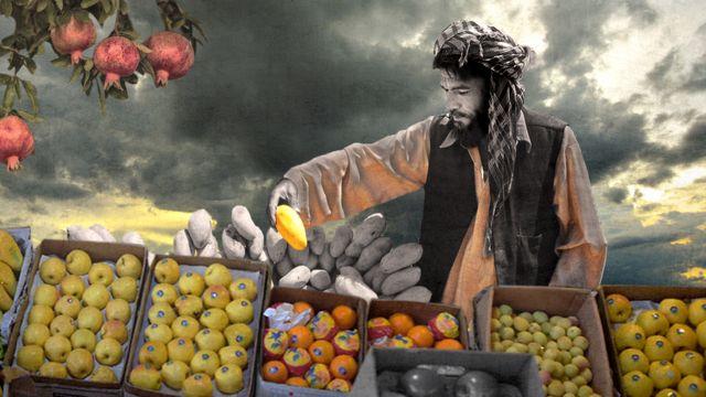 Illustration of an Afghan fruit seller