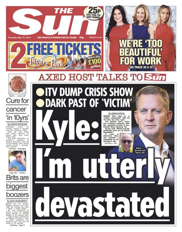 Newspaper headlines: Reality show probe and Kyle 'heartbroken'