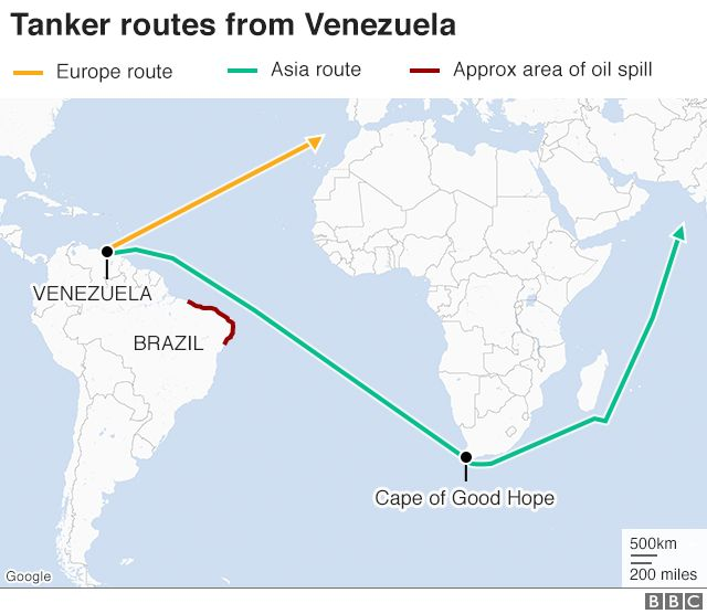 Map of tanker routes from Venezuela to Asia and Europe
