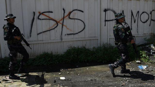 Graffiti ISIS di Marawi, Filipina.