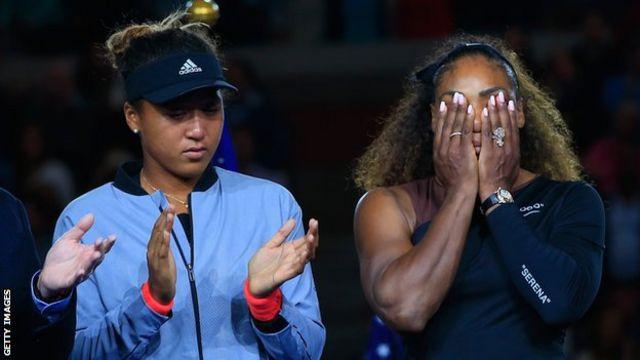 US Open winner Naomi Osaka (left) and beaten finalist Serena Williams