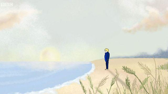 Dibujo de Eva en una playa