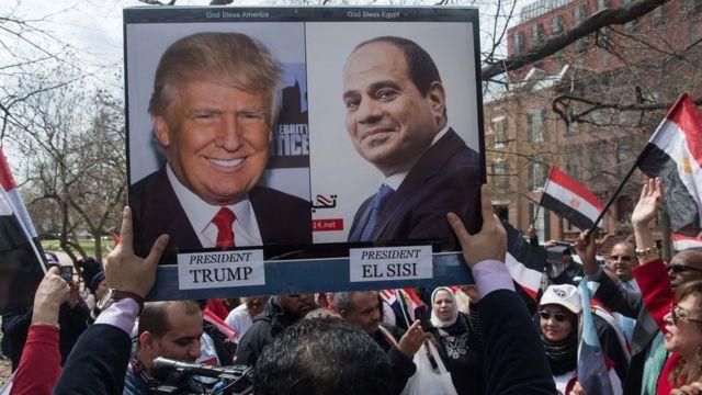 Сторонники египетского президент у Белого дома 3 апреля 2017 года