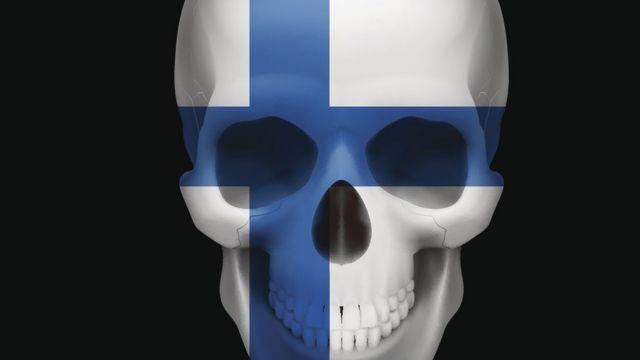 Caveira com bandeira finlandesa