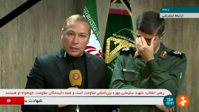 Iranian Revolutionary Guards spokesman Ramezan Sharif on state TV