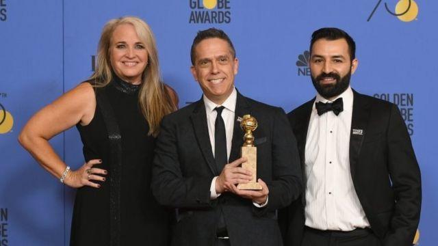 El director Lee Unkrich y los productores Darla K. Anderson y Adrian Molina