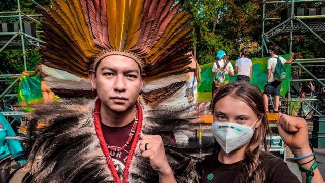 Erick Marky (à esquerda) com Greta Thunberg (à direita)