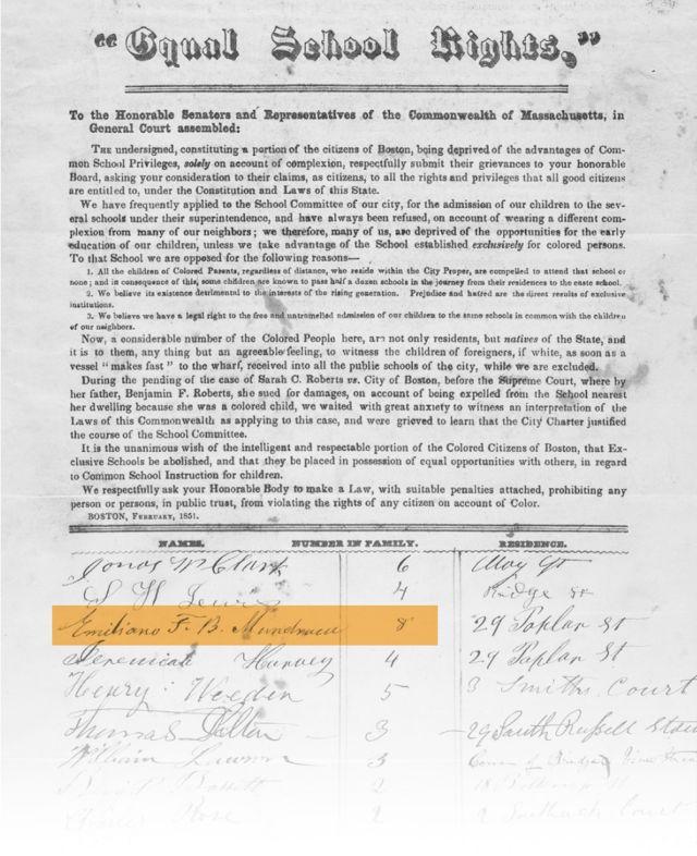 Petição pelo fim da segregação racial nas escolas de Boston assinada por Mundrucu em 1851