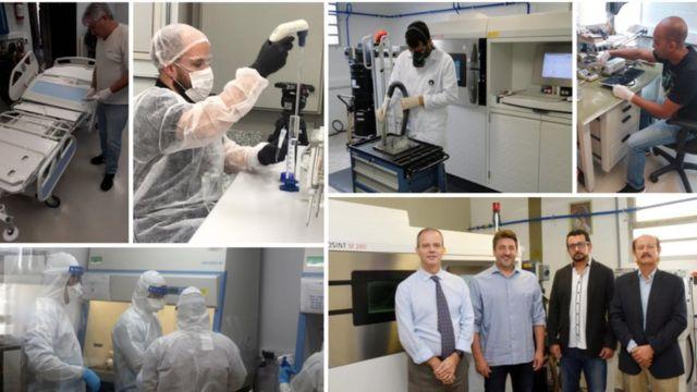 Mosaico com diversas fotos de pesquisadores atuando em laboratórios e em reuniões